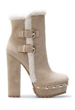 """BOOTS BY SHOE DAZZLE FAUX SUEDE/SHEARLING 5.25""""HEEL GOLD STUDS $49 SHIPS FREE"""