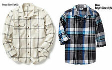 NWT $23 Old Navy Boys' Plaid Collared Long Sleeve Flannel Shirt 5, 6-7, 8, 10-12