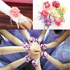 Wrist Corsage Hand Flowers Bracelet Bridesmaid Sisters Wedding Party Bridal Prom