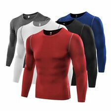 Men Compression Sports Long Sleeve Tight Shirts Fitness GYM Base Layer Cozy Tops