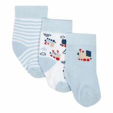 J By Jasper Conran Pack Of Three Baby Boys' Blue Striped And Plain Train Socks
