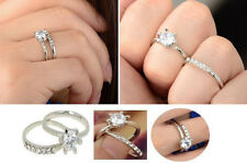 Women's White Gold Crystal, Eternity/Engagement & Wedding Ring - TWO Piece Set