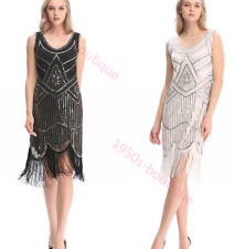 dress gatsby flapper 1920s beaded size uk fringe 8 vintage sequin s 14 great 24