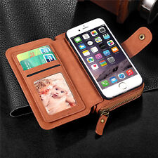 Genuine Multifunction Wallet Leather Zipper Purse Pouch Cases Handbag For iPhone
