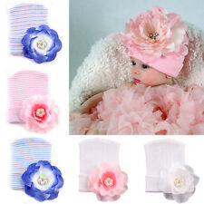Infant Newborn Toddler Baby Flower Hat Cotton Beanie Peony Rhinestone Hat