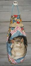 Silver Tabby Cat Flowers Plastic Grocery Bag Rag Sock Holder Handmade by HCF&D