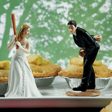 Bride and Groom Playing Baseball Hit a Home Run Wedding Cake Topper Q15924