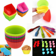 Silicone Cup Cake Muffin Cupcake Cases Baking Brush Multi Coloured & Shapes Bake
