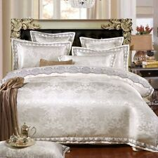 MAJESTY 4-Piece Luxury Sheets Pearl White Duvet Cover Set, Queen, Double/Full