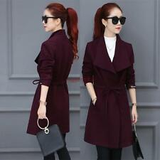 Women' s Fashion Slim fit Cotton blend Trench Overcoat Dress Formal Long Jacket