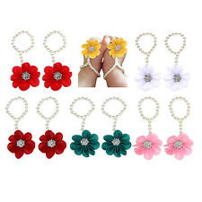 Infant Baby Pearl Flower Chiffon Barefoot Toddler Foot Beach Sandals Anklet BF