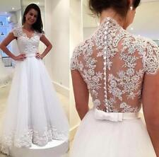 White/Ivory Lace Wedding dress Bride gown Size 2 4 6 8 10 12 14 16 18 20 22