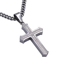 Joshua 1:9 COURAGE Christian Cross Pendant, Stainless Steel Curb Chain