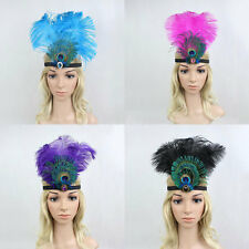 Ostrich Peacock Feather Headband Party Hat Crystal Gemstone Showgirl Headpiece
