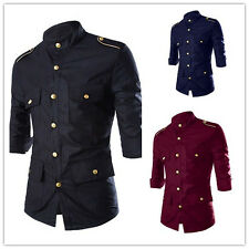 Hot Handsome Men's Business Casual Dress Multi Button Long Sleeved Shirt