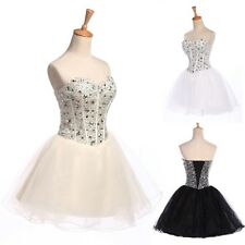 Mini Ball Gowns Wedding Formal Evening Party Dress TUTU CORSET Beaded Prom Short