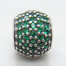 Genuine Authentic S925 Silver Dark Green Pave Lights Charm