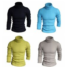 Mens Turtle Neck Slim Fit Long Sleeve Knit Cardigan Pullover Sweater Jumpers BGO