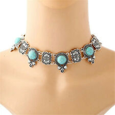 Faux Silver Turquoise Blossom Necklace Choker Silver/Gold Plated Charm