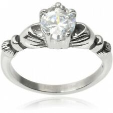Alexandria Collection Stainless Steel 3/4 Carat T.G.W. Heart Cubic Zirconia Clad