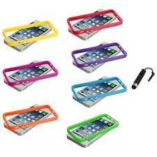 Solid TPU Bumper Frame Case Cover with Metal Buttons+Stylus Plug for iPhone 5 5S