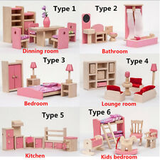 Pink Wooden Furniture Dolls House Miniature 6 Room Set Doll Educational Toy