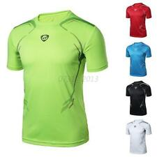Men Sports Running T Shirt Casual Tee Gym Fitness Quick Dry Stretch Tops Clothes