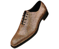 Bolano Mens Gold Metallic Exotic Emboss Printed Oxford Dress Shoe : Brent-035