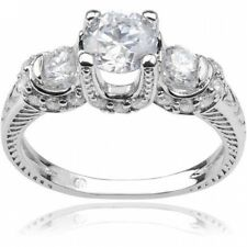 Alexandria Collection Women's Round-Cut Three-Stone CZ Sterling Silver Engagemen