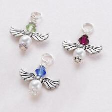 Guardian Angel Birthstone Charm, Pearl & Crystal Birthstone Pendant