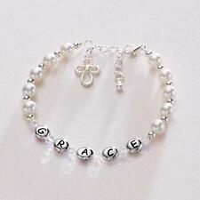 Personalised Pearl & Cross Girls Bracelet Christening Confirmation Baptism Gift