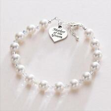 Gift for Mother Of The Groom Heart Charm Pearl Bracelet Wedding Jewellery