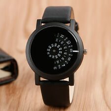 Casual Sport Turntable Analog Men Women Leather Strap Quartz Dress Wrist Watch