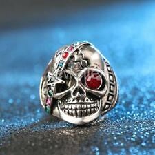 Vintage Punk Rock Style Skull Ring Mens Retro Metal Biker Crystal Rings Jewelry