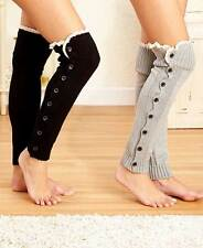 Over-the-Knee Legwarmers with Buttons & Lace One Size Gift Winter elegant shoes