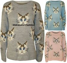 NEW WOMENS MULTI CAT FACE PRINT LONG SLEEVE CREW NECK KNITTED  JUMPER TOP 8-14