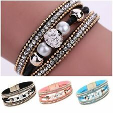 Pearl Crystal Leather Wristband Beaded Bracelet Multilayer Bangle Magnetic