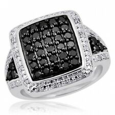JewelersClub 1.00 CTW Black & White Diamond Ring in Sterling Silver. Shipping In