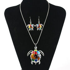 Fashion Colorful Turtle Women Long Crystal Necklace Chain Pendant Earrings Set