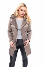 NEW WOMENS LADIES DOUBLE BREASTED TRENCH JACKET BUCKLE BELTED COAT