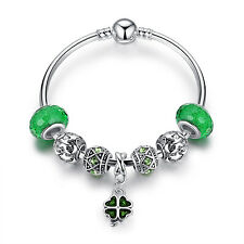 European Charm Bracelets with Four Leaf Clover Murano Green Glass Beads Charms