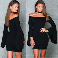 Sexy Women Off Shoulder Slim Cocktail Bodycon Party Evening Short Mini Dress