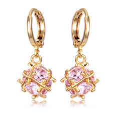 Statement Womens Crystal Gold Filled Ball Dangle Hoop earrings Small Earings