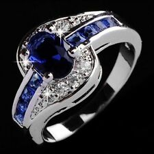 925 Silver Natural 1.4Ct Oval Cut Blue Sapphire Wedding Engagement Ring Size6-10