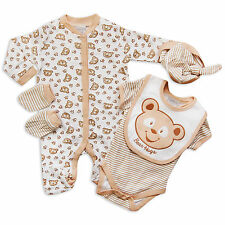 5PC Baby Boys Girls Unisex Layette Outfit Set Bear Hugs Teddy Bear by Aardvark