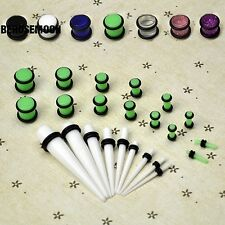 New 23 Pcs Ear Taper+ PLUG Kit 14G-00G 1.6mm-10mm Gauges Expander Set B0N