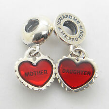 Genuine Authentic S925 Silver Piece of My Heart Daughter Mother Red Enamel Charm