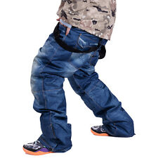 Mens Ski Pants Jeans Winter Outdoor Thick Warm Trousers Ski Jeans Mountaineering