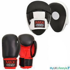 Boxing Focus Pads and Gloves Hook & Jab Training Mitts Curved Punch Bag Pad MMA