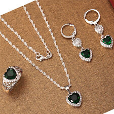 Heart Emerald 925 Silver Fashion Jewelry Set Women Necklace Earrings Ring Set